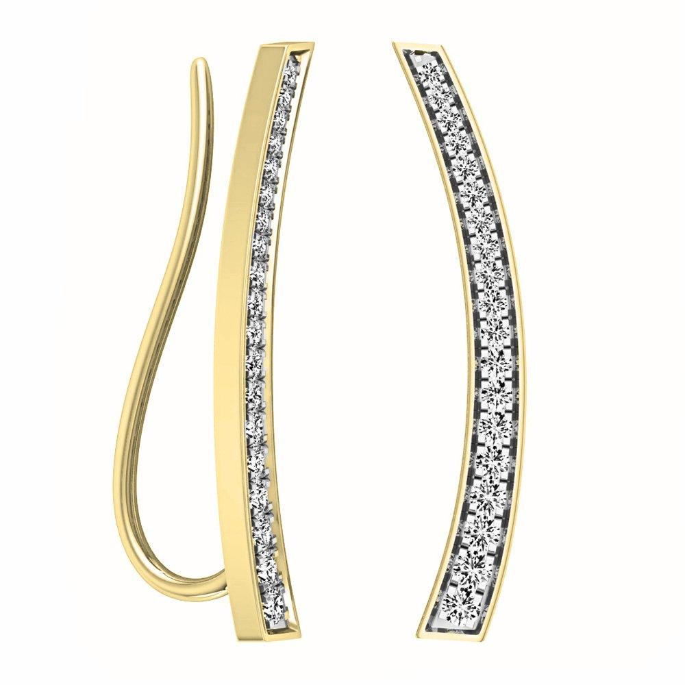 0.30 Carat (ctw) 10K Yellow Gold Round Cut White Diamond Ladies Curved Bar Ear Climber Earrings