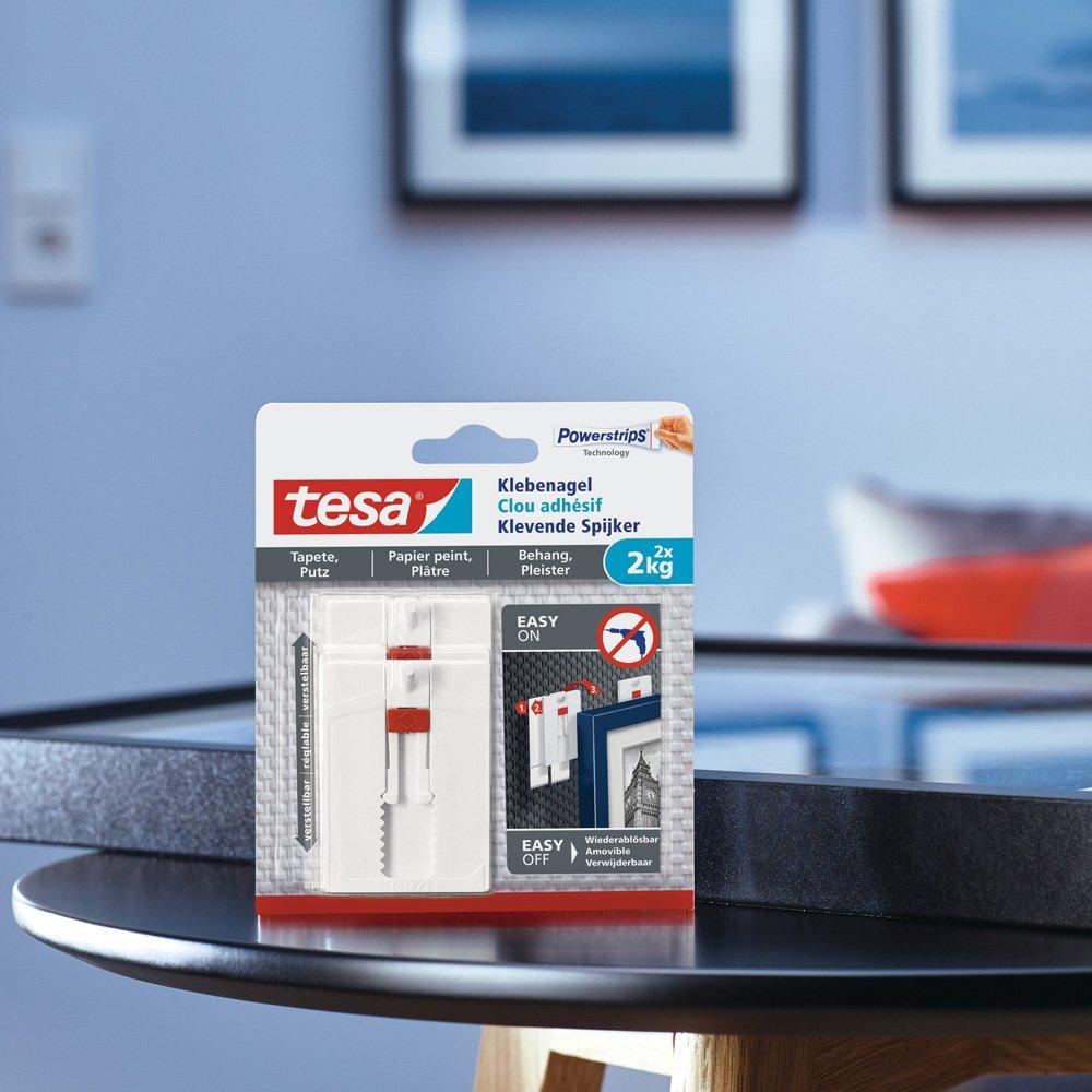 Clavo adhesivo ajustable tesa, ideal para cuadros, para paredes pintadas y yeso (2kg): Amazon.es: Bricolaje y herramientas