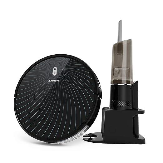 ANNEW Robot Aspirador 4 Modos de Limpieza Autocarga Anticolisión y Antiaída con Poderosa Succión para Pelo de Mascota Todo Piso Alfombra (Negro-UK)