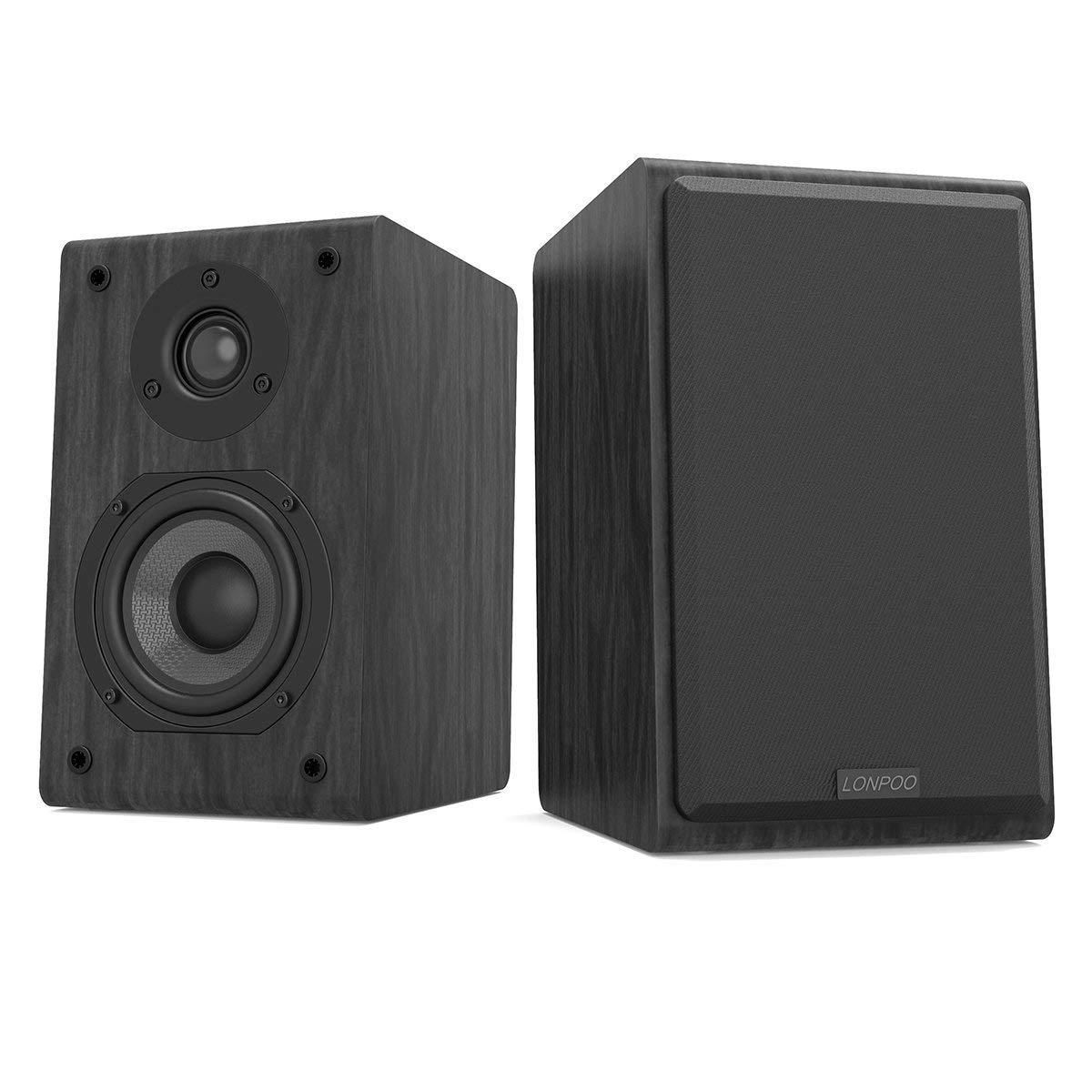 LONPOO LP42 HiFi Altavoces de estantería pasivos, Bookshelf Speaker, Altavoz de madera clásico con subwoofer y Tweeter (cine en casa, 75W * 2 potencia RMS, ...