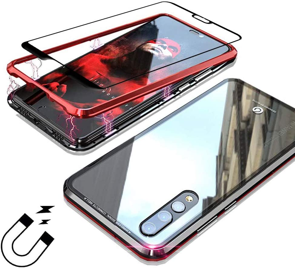 Funda Xiaomi Mi 9,[+1 Unidades Vidrio Templado Protector de Pantalla ] Adsorcion magnetica Tech Funda Carcasa Metal Bumper Ultra Delgado Transparente Vidrio Templado Cover Case para Xiaomi 9 - Rojo