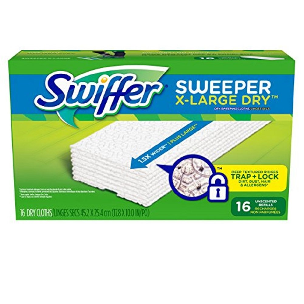 Swiffer Sweeper XL Dry Sweeping Pad Refills for Floor mop Unscented 16 Count (Pack of 6)