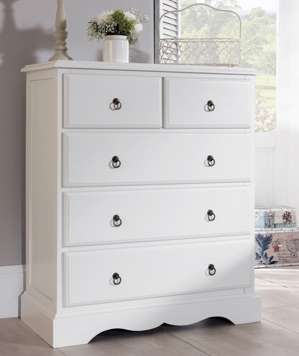 Romance  Chest Of Drawers Large Antique White Chest Of Drawers Fully Assembled Amazon Co Uk Kitchen Home