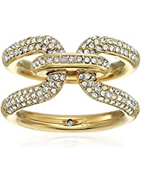 Brilliance Iconic Links Gold-Tone and Pave Ring