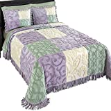 (US) Mariel Patchwork Chenille Lightweight Bedspread, Purple, Queen