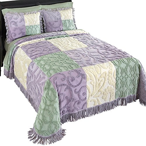 Mariel Patchwork Chenille Lightweight Bedspread, Purple, King