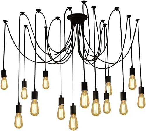 Fuloon Vintage Edison Multiple Ajustable DIY Ceiling Spider Lamp Light Pendant Lighting Chandelier Modern Chic Industrial Dining with Romote Control 14 Head Cable 200cm 78.7inch Each