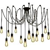 Fuloon Vintage Edison Multiple Ajustable DIY Ceiling Spider Lamp Light Pendant Lighting Chandelier Modern Chic Industrial Din