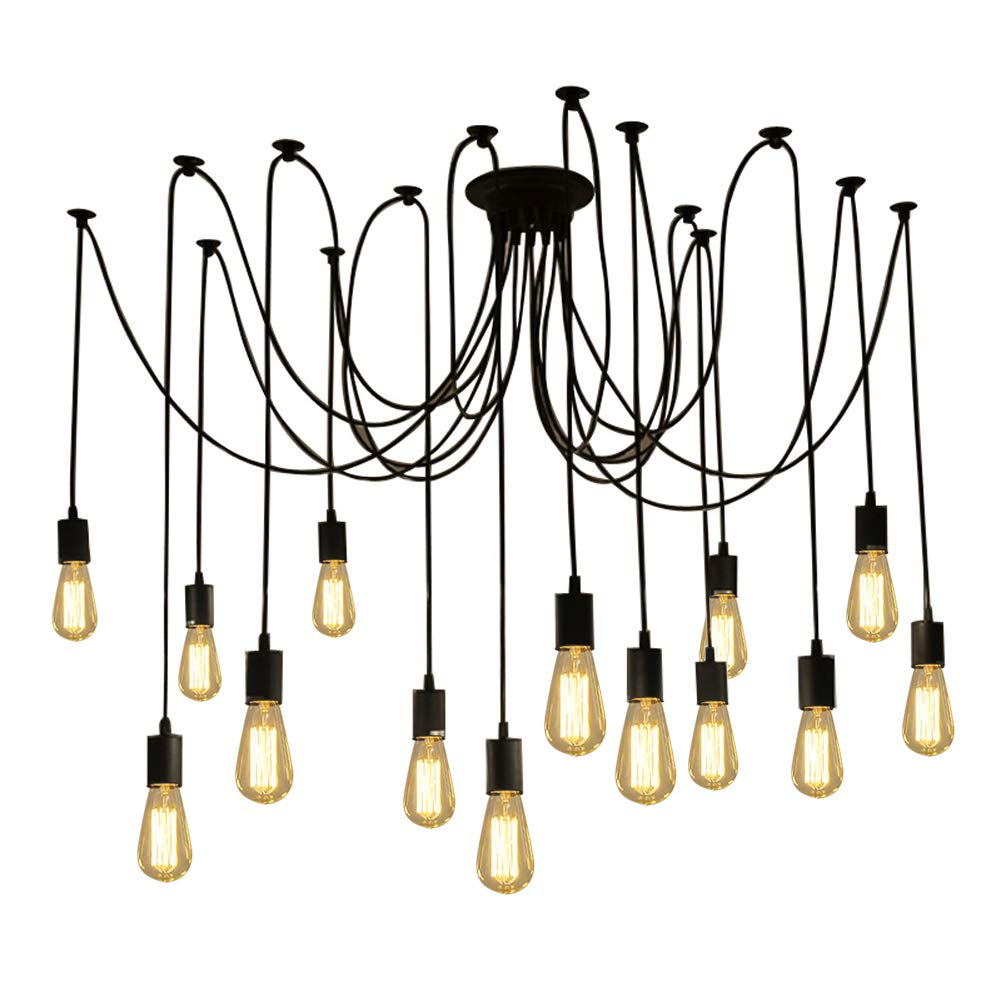 Fuloon DW68 Vintage Edison Multiple Ajustable DIY Ceiling Spider Lamp Pendant Lighting Chandelier Modern Chic Industrial Dining with Romote Control, 14 Head Cable 200cm/78.7inch Each