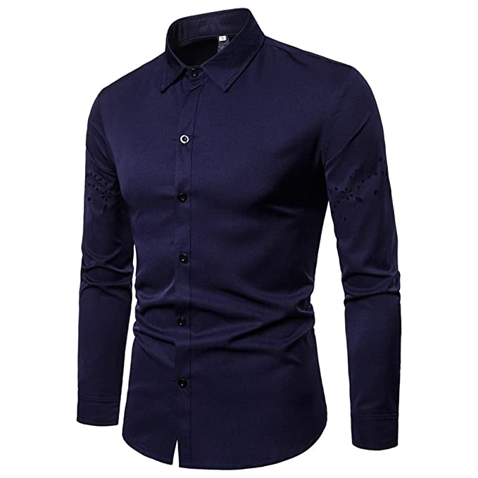 Amazon.com: kaifongfu Shirt for Men,Tops Long Sleeve with Arm Hollow Lapel Shirt for Men Blouse: Clothing