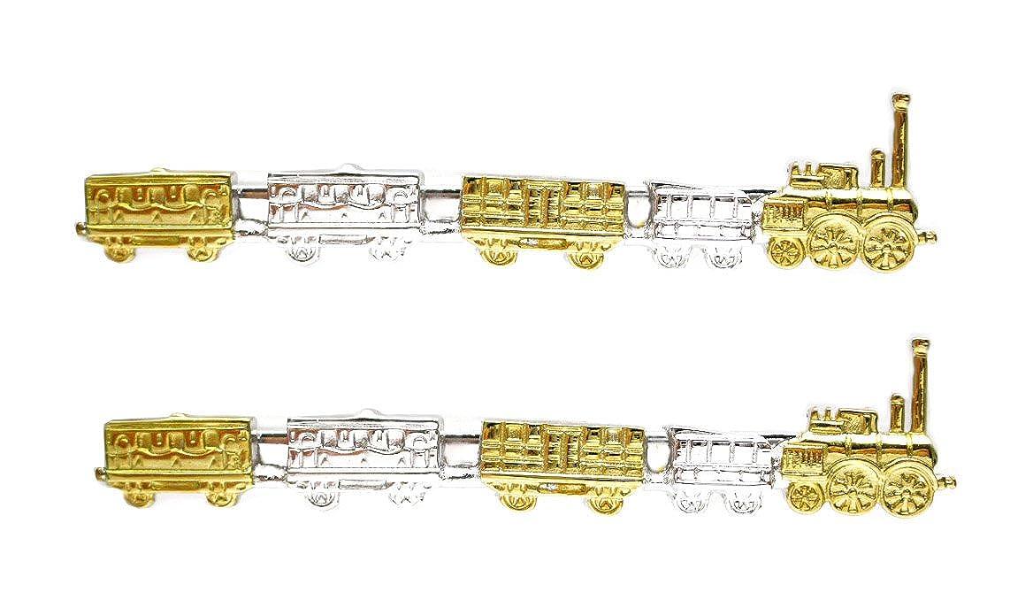 2 Krawattenschieber Eisenbahn Lok mit Waggons teilvergoldet inkl. Box Wengert collection NM0445-2