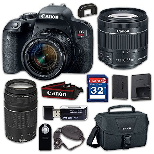 Canon EOS Rebel T7i Digital SLR Camera & EF-S 18-55mm f/4-5.6 is STM Lens, EF 75-300mm f/4-5.6 III – Built-in Wi-Fi with NFC, with 32GB Class 10 Memory Card, Wireless Remote & 100ES Shoulder Bag