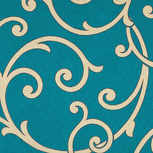Turquoise Aqua Teal White Lattice Fretwork Contemporary Modern Wide Width Prints Upholstery Fabric by the yard
