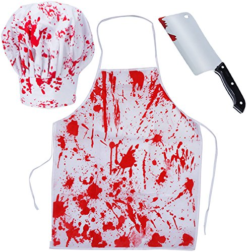 Tigerdoe Bloody Costumes - Scary Costumes - Butcher Costume - (3 Pc Costume Set) (Butcher Costume)