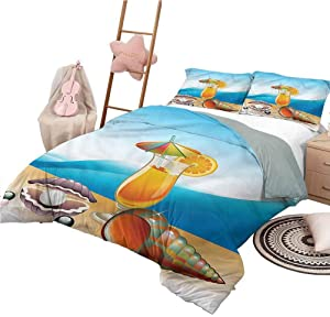 Nomorer 3 Piece Coverlet Set Queen Size Pearls Polyester Blend Quilt Cover and Pillowcases Seascape Summer Beach