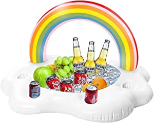 SIENON Inflatable Rainbow Cloud Drink Float, Large Capacity Pool Cooler Drink Holder Floating Beverage Salad Fruit Serving Bar Pool Float Party, Water Fun Decorations and Pool Toys for Adults and Kids
