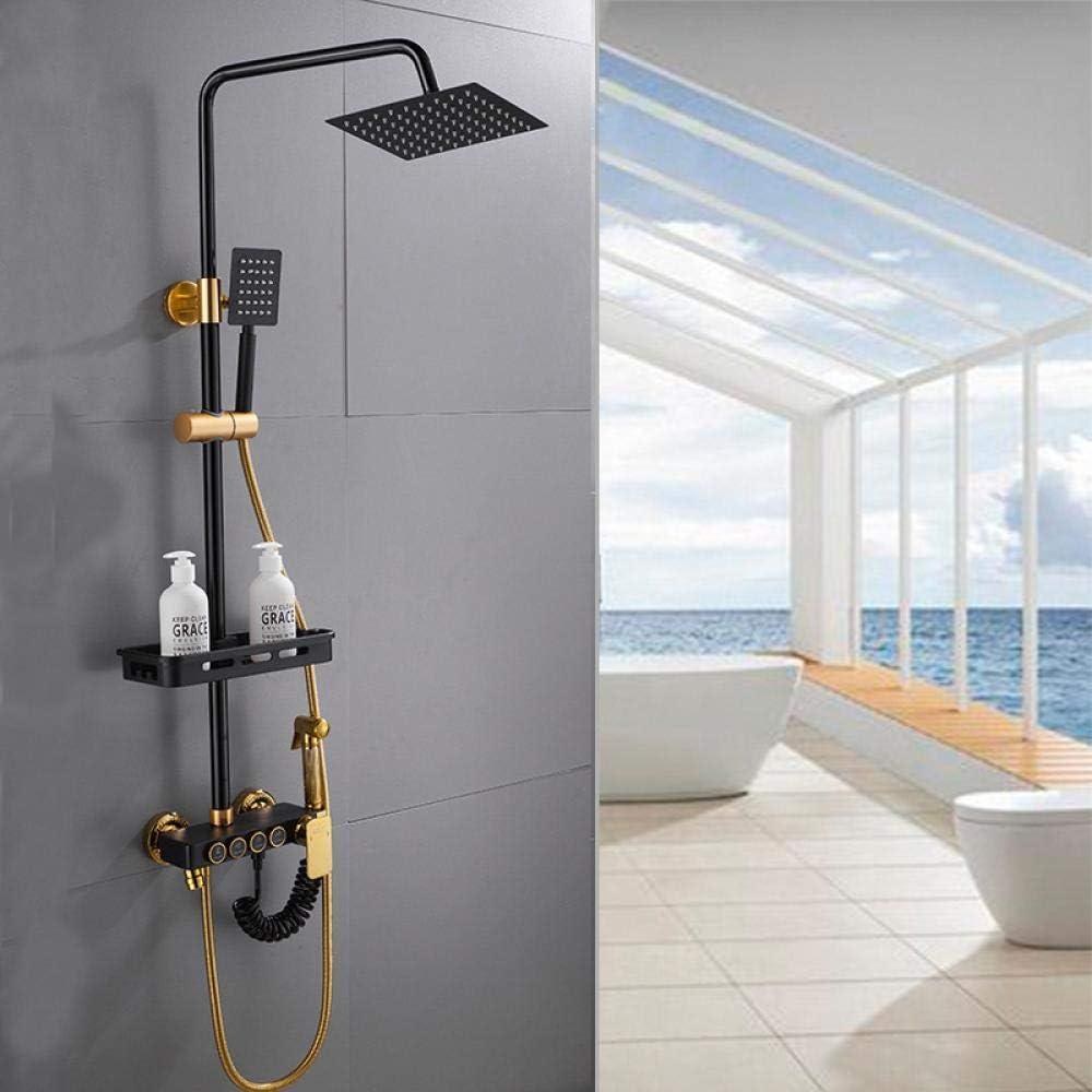 Conjunto de ducha de cobre con estilo Boquilla de ducha de lluvia de elevaci/ón negra elegante Cabezal de ducha presurizada multifuncional de acero inoxidable F/ácil de limpiar y duradero BNMMJ