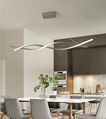 LED Colgante de luz Regulable con control remoto Lámpara colgante Moderno Espiral Diseño Candelabro para Isla de cocina Bar Mesa de comedor Sala de estar Loft Oficina Lámparas de araña (Gris, L120CM):