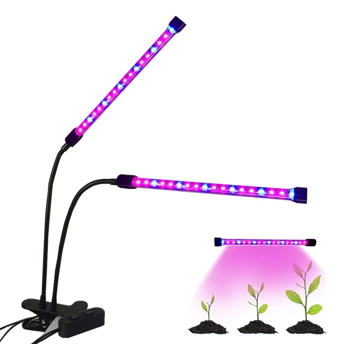 Dual Head LED Plant Grow Light,Kyerivs USB Clip-On 12W 2 Dimmable Level 36 LEDs Red+Blue 24Reds&12Blues Grow Lamp Bulbs with Flexible 360 Degree Gooseneck for Indoor Plants Office Computers Desk Hydro