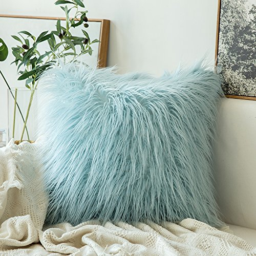 MIULEE Decorative New Luxury Series Style Light Blue Faux Fur Throw Pillow Case Cushion Cover for Sofa Bedroom Car 18 x 18 Inch 45 x 45 cm (Pillow Initial)