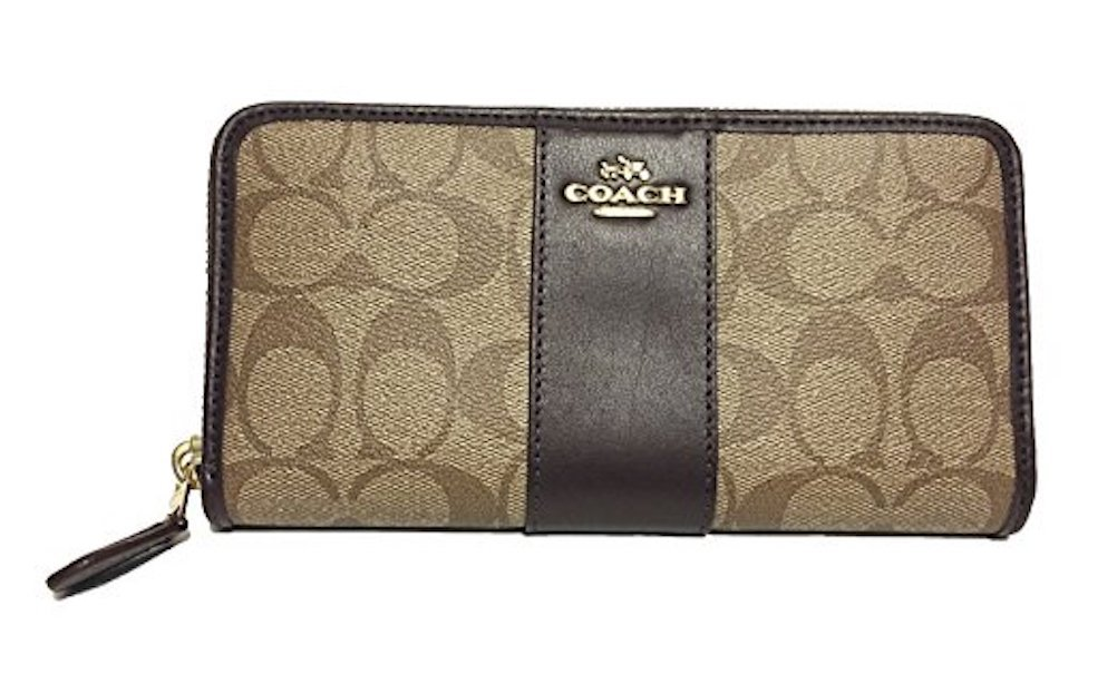 COACH ACCORDION ZIP WALLET IN SIGNATURE F54630 (Khaki/Oxblood) by Coach