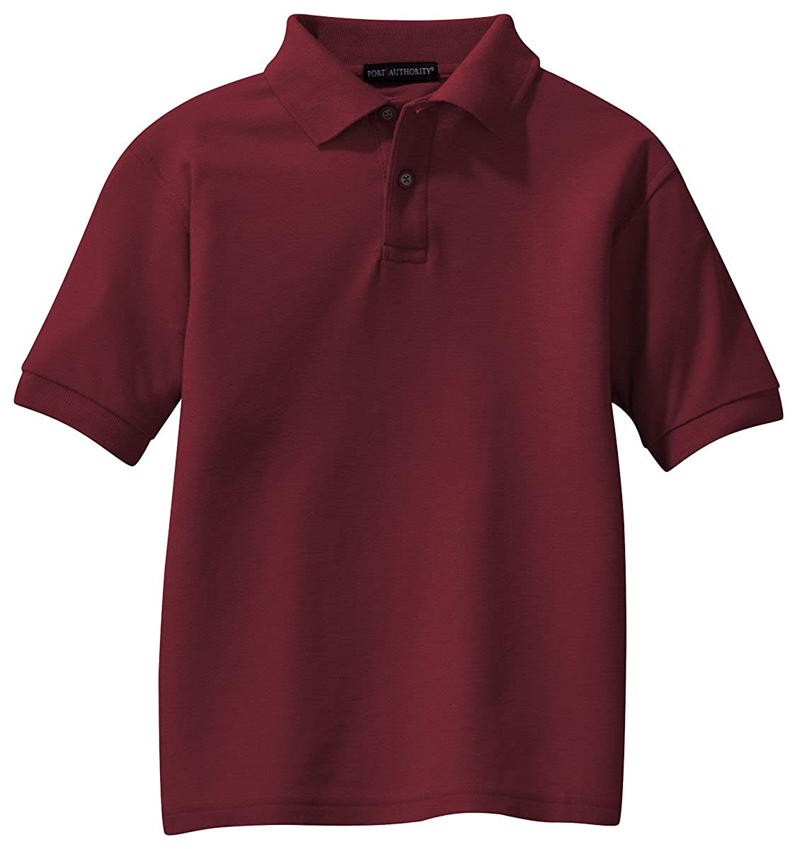 Burgundy Port Authority Youth Silk Touch Polo