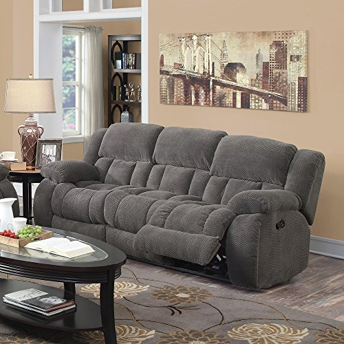 - Coaster Home Furnishings Weissman Pillow Padded Motion Sofa Charcoal
