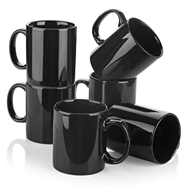 Y YHY Porcelain Coffee Mugs, 12oz Mug Set for Tea, Cocoa or DIY, Set of 6, Black
