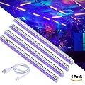 UV LED black light lighting fixtures, Greenclick 4 Pack DJ blacklight bar Safe party UV light, 24W, UL listed Plug
