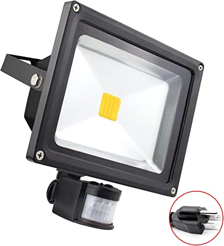 Big Sale 30W Motion Sensor LED Flood Light, 3000K Warm White, 3500lm Max , IP65 Waterproof Security Spotlight with PIR for Driveway Parking Lot – Black