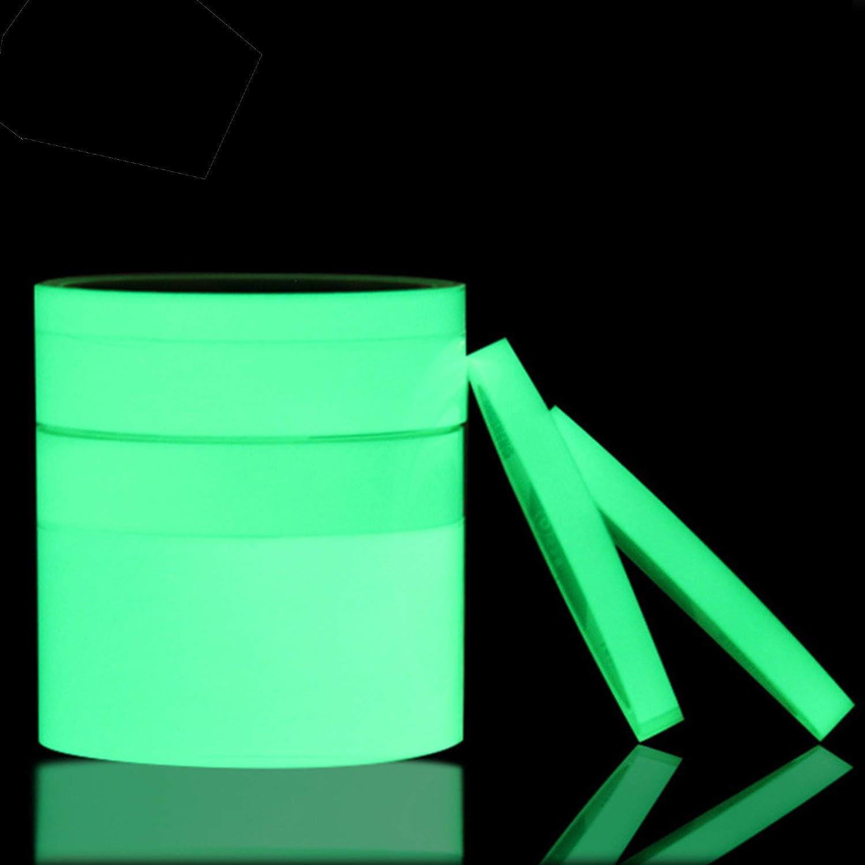 Cinta Fluorescente Cinta de Seguridad Resplandor en la Cinta Oscura Luminoso de advertencia antideslizante fluorescente Glow adhesivo Advertencia cinta etiquetas 2pcs Cinta Luminosa