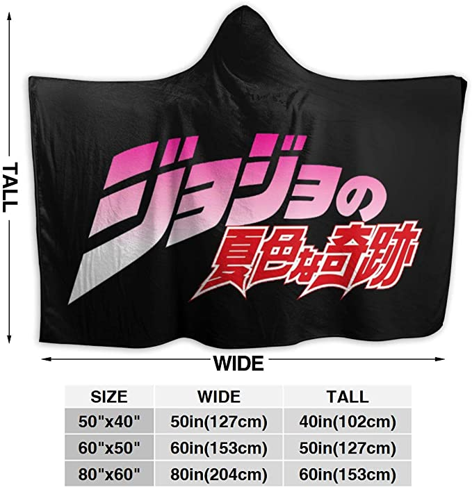 Super Soft Comfy Warm Plush Throw with Sleeves Tv Blanket Wrap Robe Hoodie Cover for Sofa Couch 50x40 Inch Jaxia JoJos Bizarre Adventure Hood Wearable Blanket for Adult Women and Men