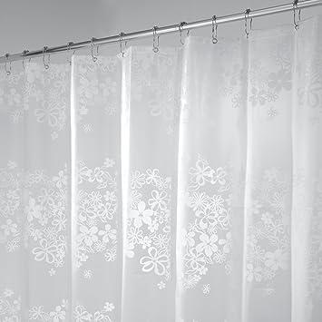 mDesign Duschvorhang - Größe: 180 x 200 cm, Farbe: Durchsichtig -  Wasserabweisend - Vorhang Badezimmer - Dusche Badewanne - Pflegeleicht