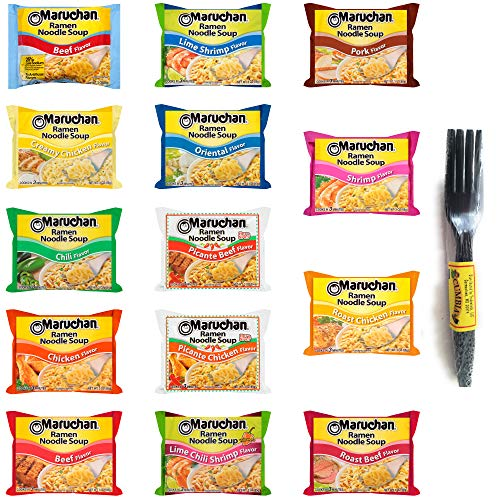 Maruchan Ramen Variety Bundle 14 Noodle Flavors (14-Pack): Beef, Chicken, Chili, Creamy Chicken, Lime Chili Shrimp, Oriental, Picante Beef, Pork, Roast Beef, Roast Chicken & More. Incl. Cumbia Forks
