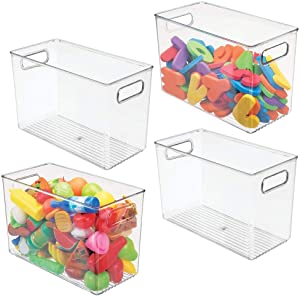 "mDesign Deep Plastic Home Storage Organizer Bin for Cube Furniture Shelving in Office, Entryway, Closet, Cabinet, Bedroom, Laundry Room, Nursery, Kids Toy Room - 12"" x 6"" x 7.75"" - 4 Pack - Clear"