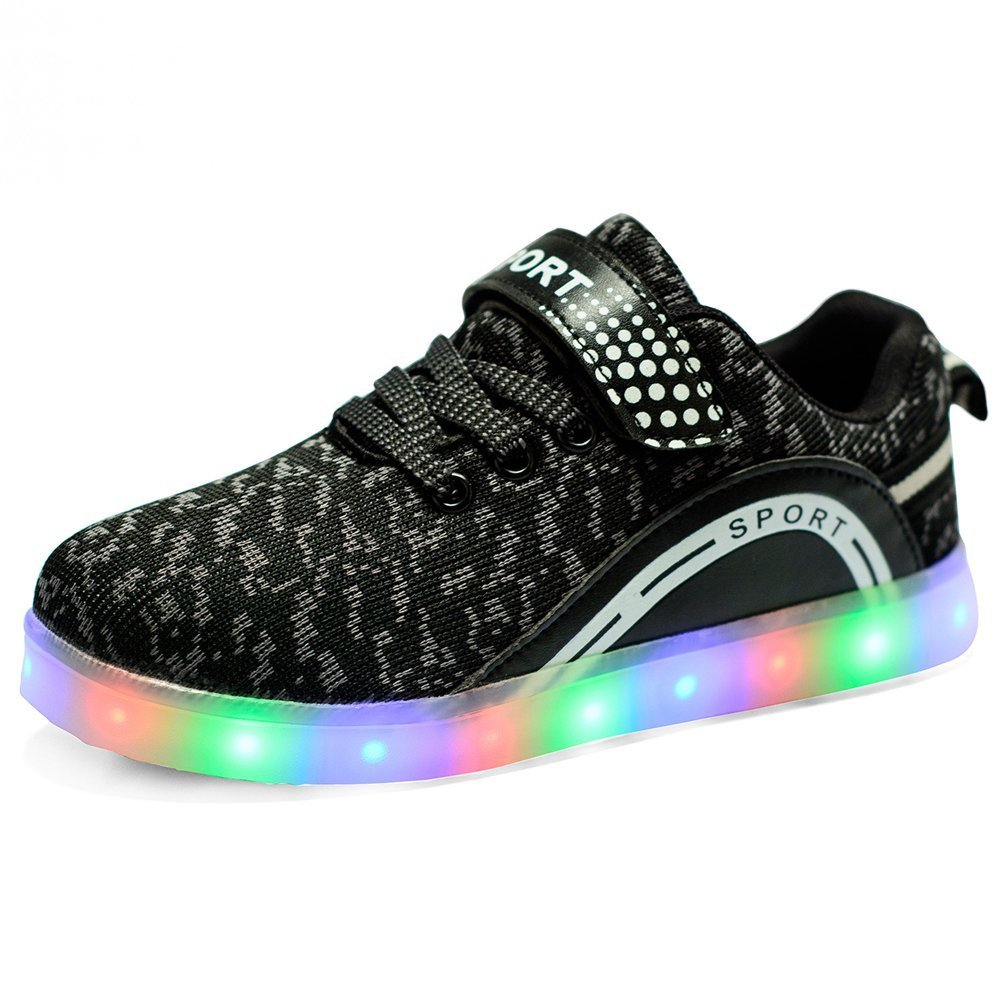 LED Flashing Sneakers Light Up Sport Shoes for Boys Girls Breathable USB Charge for Christmas Halloween(Black 2.5 M US Little Kid) by Hanglin Trade