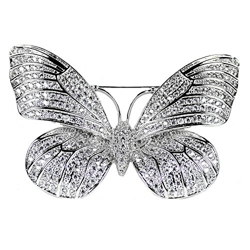 DREAMLANDSALES Victorian Style Mother of Pearl Body and Micro Pave Insect and Aninmal Brooch Pins (Butterfly)