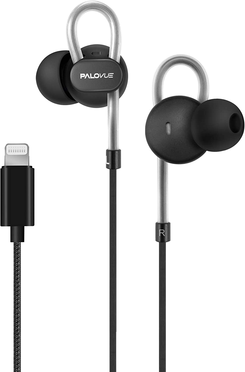PALOVUE Lightning Headphones Earbuds Earphones with Microphone Controller MFi Certified Noise Isolation Compatible iPhone 12 11 Pro Max iPhone X/XS Max/XR iPhone 8/P iPhone 7/P NeoFlowColor (Black)