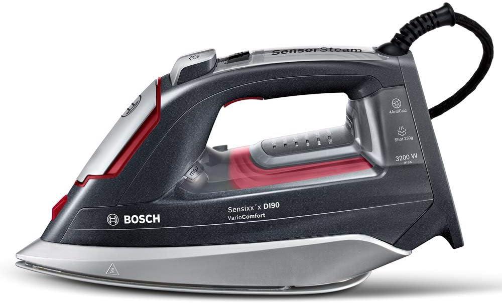 Bosch TDI953222V Plancha de Vapor, Motor de Inyección, Tecnología VarioComfort, Supervapor de 230 g, 3200 W, Negro y Rojo