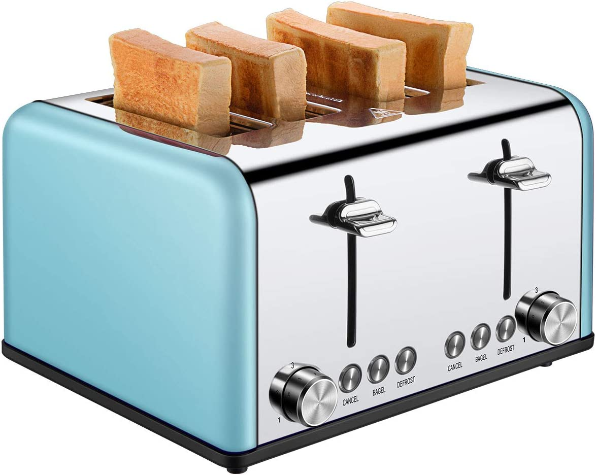 4 Slice Toaster, CUSIBOX Extra Wide Slots Toaster with Bagel, Defrost, Cancel Function, Colorful Stainless Steel, 6 Bread Shade Settings, 1650W, Blue