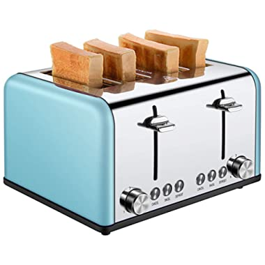 Toaster 4 Slice, CUSIBOX Extra Wide Slots Toaster with BAGEL/DEFROST/CANCEL Function, Stainless Steel Four Slice Bread Bagel Toaster, 1650W, Blue