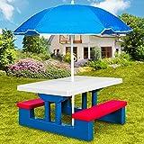 Ensemble jardin pour enfant table et bancs avec parasol Salon de balcon Exterieur Plastique
