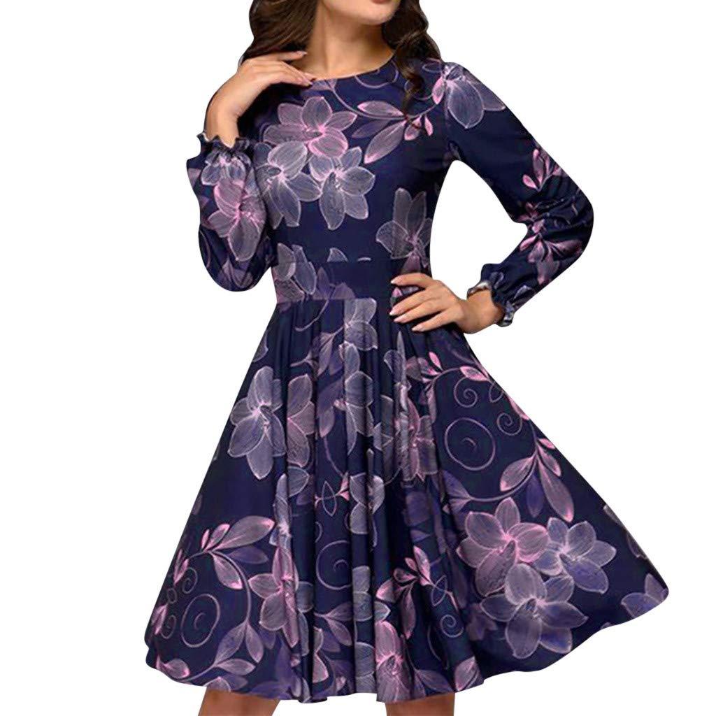 Goosuny Damen Abendkleider Knielang Chiffon Vintage Kleid Blumen Drucken Rüschen Langarm Cocktailkleid A-Linie Sommerkleid Swing Kleid Festlich Elegante Frauen Partykleider