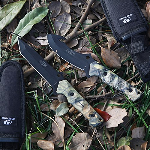 MOSSY OAK Fixed Blade Hunting Knife Set - 2 Piece, Full Tang Handle Straight Edge and Gut Hook Blades Game Processing Knife, Sheath Included by Mossy Oak (Image #3)