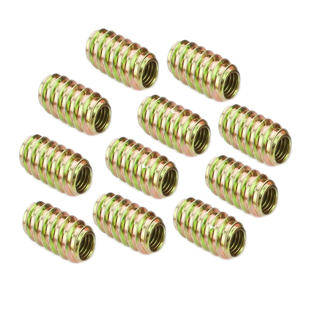 Jili Online 10Pcs Furniture Mounting Fasteners Wood Insert Thread Iron Bolts Nuts 8 Sizes Pick - as picture show, M6*13