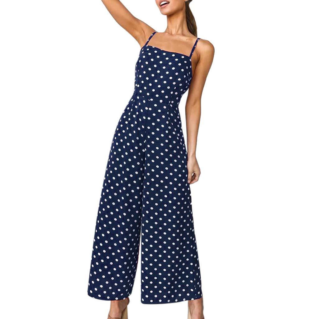 WEUIE Women Spaghetti Strap Sleeveless Wide Leg Long Pants Backless Playsuit Polka Dot Jumpsuit Romper Overalls