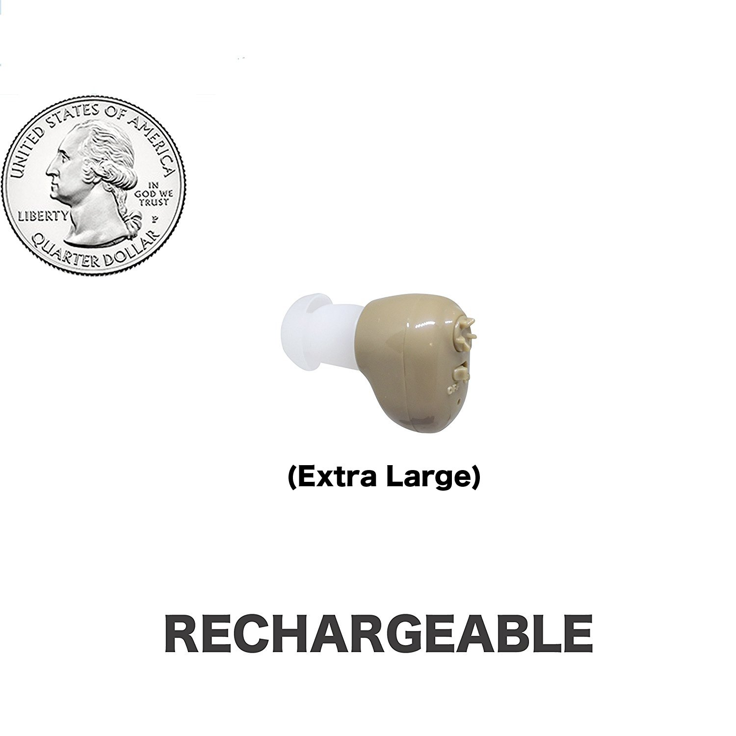 Extra Large Size,Beige Color, In The Canal (ITC), New Digital Hearing Ear Amplifier Kit By EASYUSLIFE, Rechargeable and Interchangeable, Adjustable Volume Control, Suitable For Men and Women