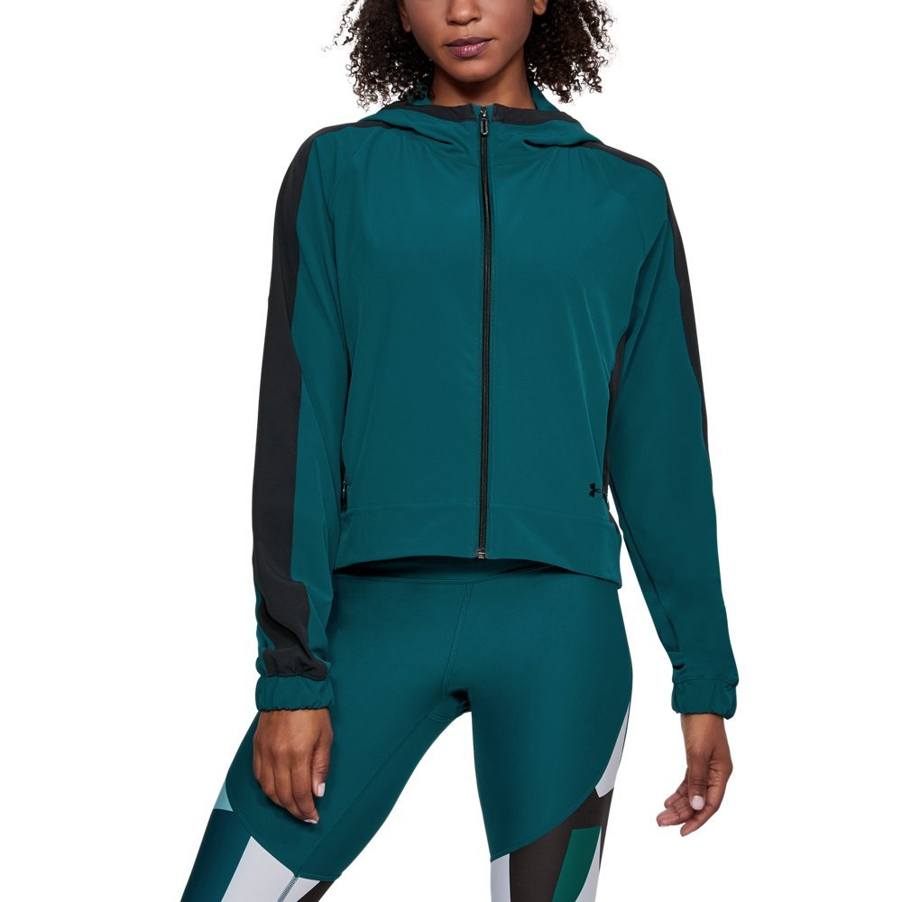 Under Armour Womens Storm Woven Full Zip Jacket, Tourmaline Teal (716)/Black, Small