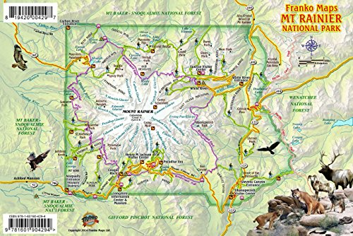Mt. Rainier National Park Map & Wildlife Guide Franko Maps Laminated Card