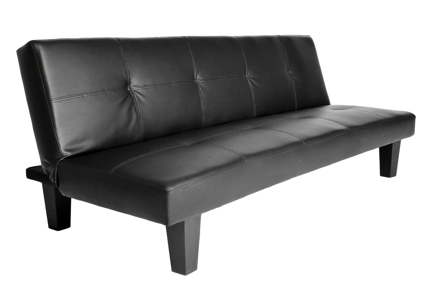Click Clack Sofa Bed Black Faux Leather 2 3 Seater Modern Settee
